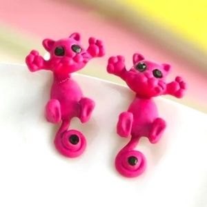 Adorable 3D Kitty Fashion Earrings in Red